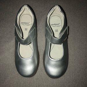 NEW Pediped Flex Silver Mary Janes